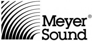 Meyer Sound logo featuring a white and black record-like design.