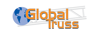 The Global Truss logo featuring a picture of the globe and metal staging equipment.